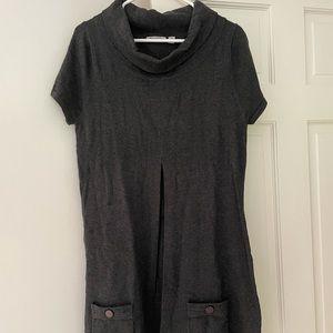 Ripe Maternity grey cowl neck pleat front dress. Medium